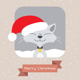 Christmas Greeting card with funny cat Stock Image