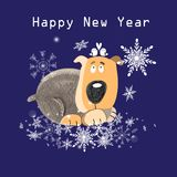 Christmas greeting card with funny dog. On a blue background with snowflakes Stock Images