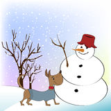 Christmas greeting card with funny snowman and dog Stock Images