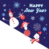 Christmas greeting card with funny snowmen Royalty Free Stock Images