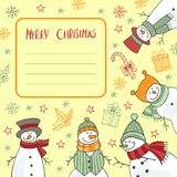 Christmas greeting card. Christmas card with funny snowmen. Vector illustration Royalty Free Stock Images