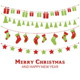Christmas greeting card with garlands, christmas toys, stockings, gift boxes. Vector illustration Royalty Free Stock Photos