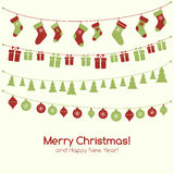 Christmas greeting card with garlands Stock Image