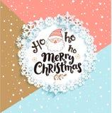 Christmas Greeting Card on geometric background. Happy Christmas greeting card with lettering on geometric and snowfall background. Vector illustration royalty free illustration