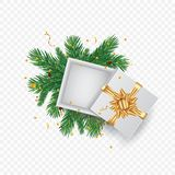 Christmas greeting card with gift box. Place with vector branch of Christmas tree and space for text. Realistic vector illustration