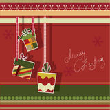 Christmas greeting card with gift boxes Royalty Free Stock Images