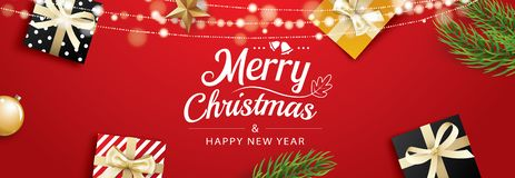 Christmas greeting card with gift boxes on red background. Use for posters, cover, banner.  royalty free illustration
