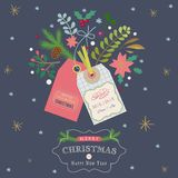 Christmas greeting card with gift tags. And and branches, flowers and berries Royalty Free Stock Photography