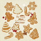 Christmas greeting card with ginger festive cookies Royalty Free Stock Photo