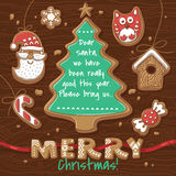Christmas greeting card with Gingerbread Cookies. Stock Images