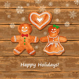 Christmas greeting card with gingerbread cookies Royalty Free Stock Photography