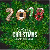 2018 Christmas greeting card, gingerbread cookies Royalty Free Stock Photos