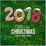 2018 Christmas greeting card, gingerbread cookies Stock Photos