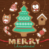 Christmas greeting card with Gingerbread Cookies. Stock Photo