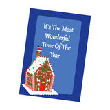 Christmas Greeting Card. Gingerbread House on the blue background. Vector illustration Stock Photo