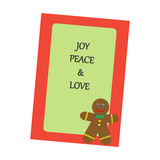 Christmas Greeting Card. Gingerbread Man on the green background. Vector illustration Stock Photography