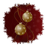 Christmas greeting card, gold balls and snowflakes. Christmas greeting card - two gold baubles with snowflakes, ribbons, red background and white snowflakes stock illustration