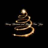 Christmas Greeting Card in Gold and black Stock Photography