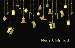 Christmas greeting card with gold christmas toys Stock Image