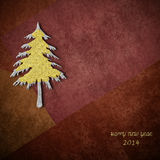 Christmas greeting card 2014. Christmas card 2014, gold and silver fir on dark brown background with empty space for text or photo Royalty Free Stock Photos