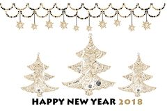 Christmas Greeting Card With  Gold Snowflakes, Stars And Christm. As Trees. Vector Holiday Illustration. Text  Nappy New Year 2018 Stock Photography