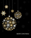 Christmas greeting card with golden balls. Royalty Free Stock Image