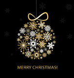 Christmas greeting card with golden balls. Christmas greeting card with golden balls and snowflakes Royalty Free Stock Photography