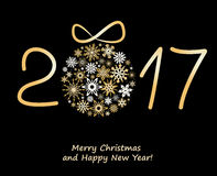 Christmas greeting card 2017 with golden balls. Christmas greeting card 2017 with golden balls from snowflakes Stock Image