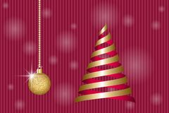 Christmas greeting card. Golden christmas ball and ribbons fir tree. Vector illustration EPS10 Stock Photo