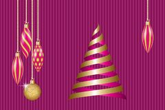 Christmas greeting card. Golden christmas decorations and ribbons fir tree. Vector illustration EPS10 Stock Photography