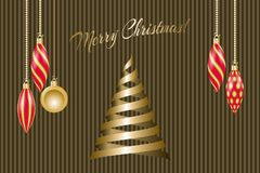 Christmas greeting card. Golden christmas decorations and ribbons fir tree. Vector illustration EPS10 Stock Photo