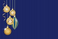 Christmas greeting card. Golden christmas decorations. Vector illustration EPS10 Stock Image