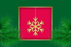 Christmas greeting card. Golden frame and big snowflake. Vector illustration EPS10 Stock Photography