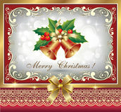 Christmas greeting card. In a golden frame in the decoration Royalty Free Stock Image