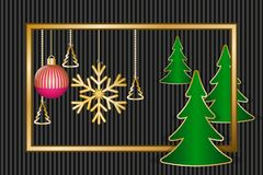 Christmas greeting card. With golden frame, decorations and fir trees. Vector illustration EPS10 Royalty Free Stock Image