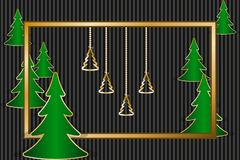 Christmas greeting card. With golden frame, decorations and fir trees. Vector illustration EPS10 Royalty Free Stock Photography