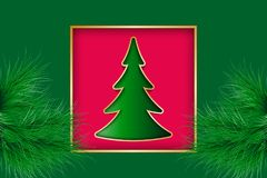 Christmas greeting card. With golden frame and fir tree cut out from paper. Vector illustration EPS10 Stock Photos