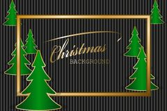 Christmas greeting card. With golden frame and fir trees. Vector illustration EPS10 Royalty Free Stock Images