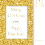 Christmas greeting card. Golden Frame Stock Photography
