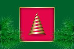 Christmas greeting card. With golden frame and ribbons fir tree. Vector illustration EPS10 Royalty Free Stock Images