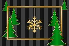 Christmas greeting card. With golden frame, snowflake and fir trees. Vector illustration EPS10 Stock Image