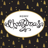 Christmas greeting card with golden  spruces. Merry Christmas hand lettering with golden  spruces on black  background. Vector greeting  card Royalty Free Stock Images