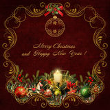 Christmas greeting card with golden swirls and christmas decorations. Beautiful congratulatory background with golden swirls, Christmas decorations, candles and royalty free illustration