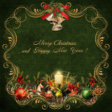 Christmas greeting card with golden swirls and christmas decorations Stock Photography