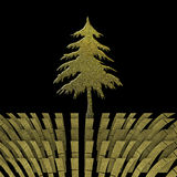 Christmas greeting card with goldl fir tree Royalty Free Stock Image