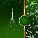 Christmas greeting card. Green Christmas card with abstract Christmas tree, snowflakes and ornaments stock illustration