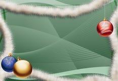 Christmas greeting card - Green background. Christmas greeting card without text - Green abstract background - Three Christmas balls stock illustration