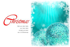 Christmas greeting card. Green Christmas ball and green bokeh background with copy space. easy to add your text Stock Photography