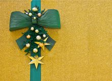 Christmas greeting card with green bow Stock Images