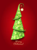 Christmas Greeting Card. Green Christmas tree with. Twinkly lights and gold star Royalty Free Stock Photography